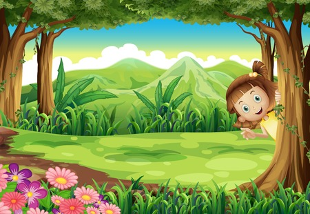Illustration of a girl hiding at the jungle Vector