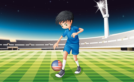 Illustration of a boy at the field using the ball with the flag of the United States Vector