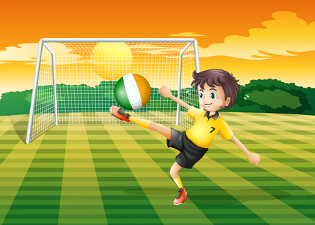 Illustration of a girl at the field using the ball with the flag of Ireland Vector