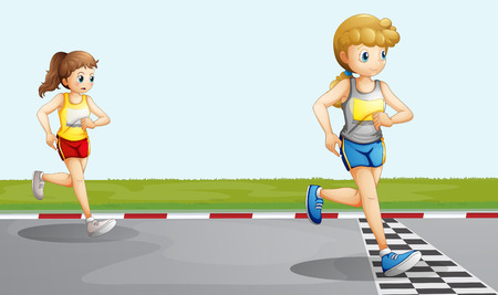 Illustration of the two girls racing Vector