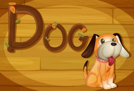 brownish: Illustration of a frame with a dog Illustration