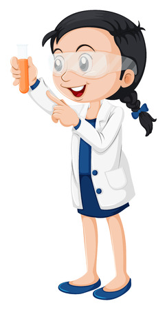 experiments: Illustration of a female scientist on a white background