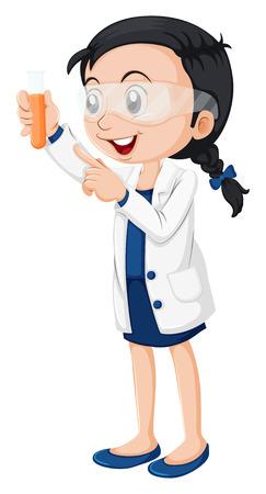 feminino: Ilustração de um cientista fêmea em um fundo branco