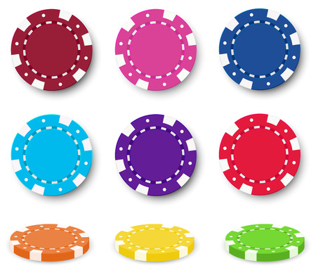 Illustration of the nine colorful poker chips on a white background Vector