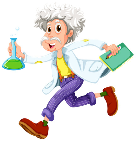 tardiness: Illustration of a scientist running hurriedly on a white background Illustration