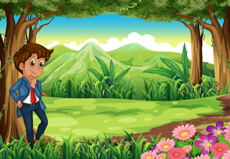 Illustration of a businessman in the middle of the forest Vector