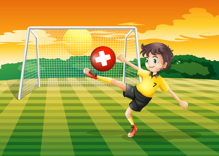 Illustration of a girl at the field kicking the ball with the flag of Switzerland Vector