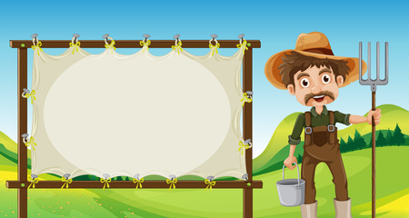Illustration of a farmer beside the empty signage Vector