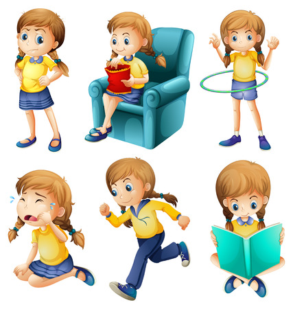 cartoon reading: Illustration of the different activities of a young girl on a white background