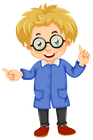 Illustration of a kid wearing glasses on a white background Vector