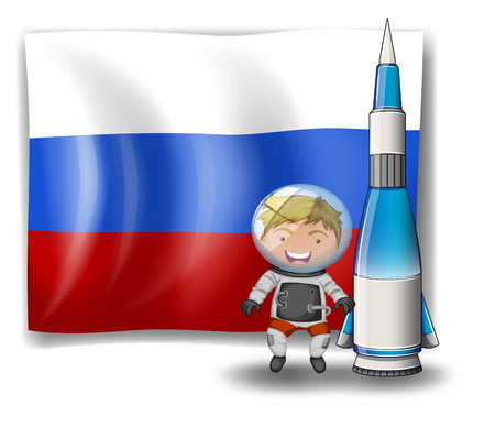 Illustration of the flag of Russia with an explorer and a rocket on a white background Vector