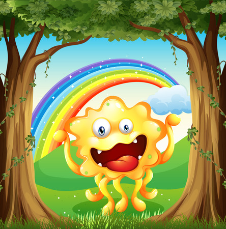 Illustration of a monster at the woods with a rainbow in the sky Vector