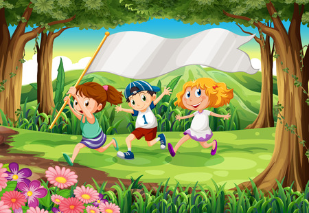 Illustration of a jungle with three kids with an empty banner Vector