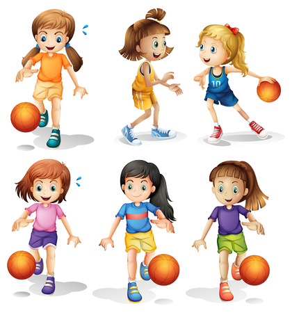 playing games: Illustration of the little female basketball players on a white background