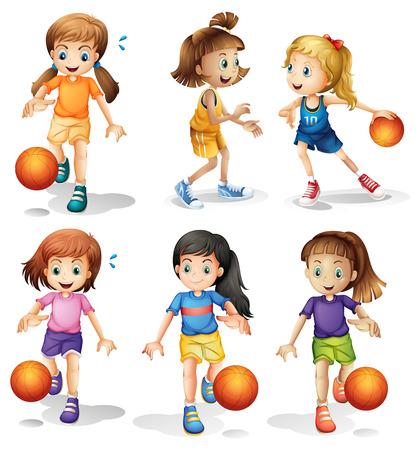 girl sport: Illustrazione dei piccoli giocatori di basket femminile su uno sfondo bianco