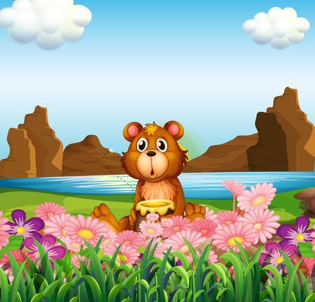 강둑: Illustration of a cute bear near the flowers at the riverbank 일러스트