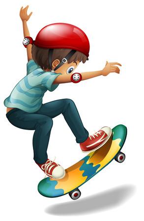 skateboard boy: Illustration of a little man skateboarding on a white background Illustration