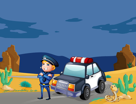 beside: Illustration of a smiling policeman beside the patrol car Illustration