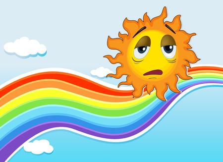 Illustration of a sad sun near the rainbow Illustration