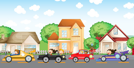 Illustration of the teenagers car racing in front of the neighborhood Vector