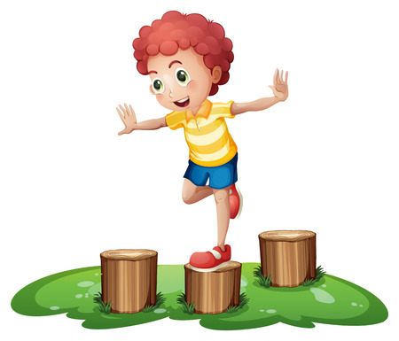 stumps: Illustration of a cute young boy playing above the stumps on a white background Illustration