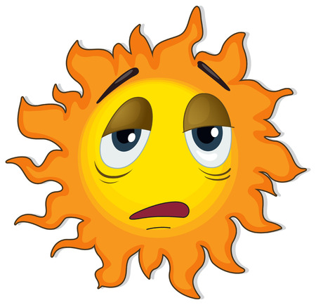 sleepy: Illustration of a tired sun on a white background