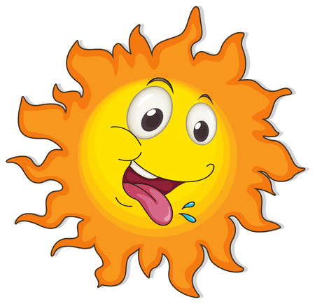 emote: Illustration of a happy sun on a white background