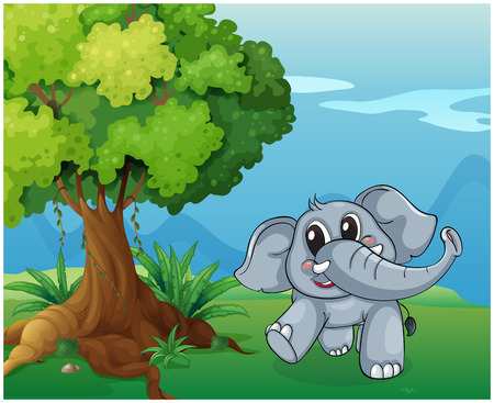 Illustration of an elephant beside the tree Illustration