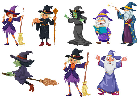 Illustration of a group of witches on a white background Vector