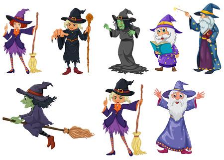 escoba: Ilustración de un grupo de brujas en un fondo blanco Vectores