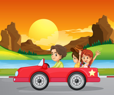 Illustration of a boy travelling with two cute girls Illustration