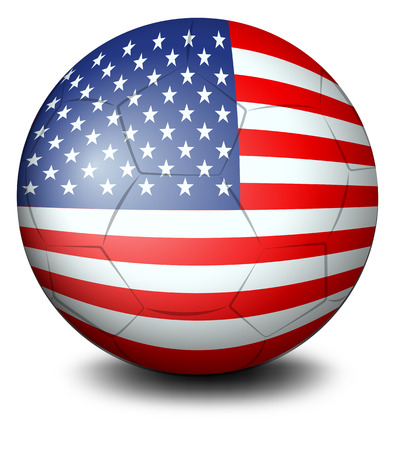 footwork: Illustration of a ball with the USA flag on a white background
