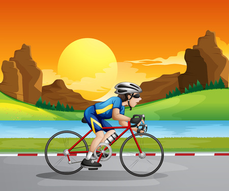 Illustration of a boy biking Vector