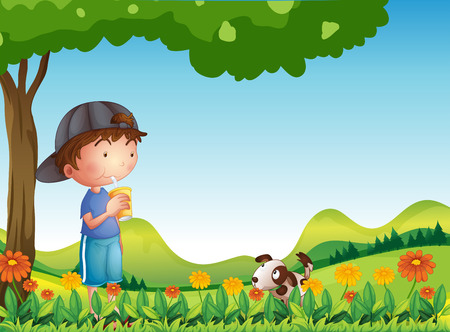 Illustration of a boy under tree with his pet Vector