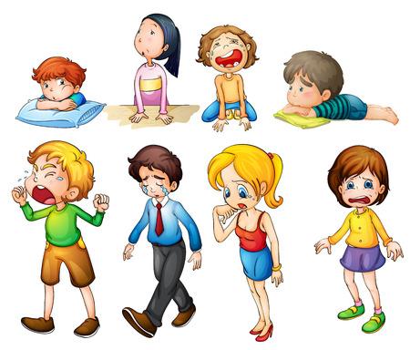 crying boy: Ilustración de la gente triste sobre un fondo blanco
