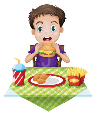 hungry kid: Illustration of a boy eating on a white background Illustration