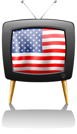 Illustration of a television with the flag of the USA on a white background Vector