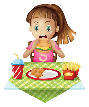 food to eat: Illustration of a hungry child eating on a white background