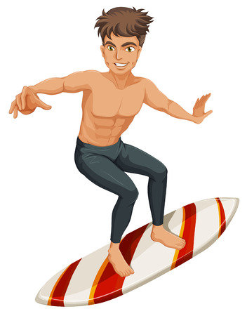 musculine: Illustration of a man surfing on a white background