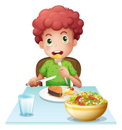 Ilustración de un niño de comer en un fondo blanco