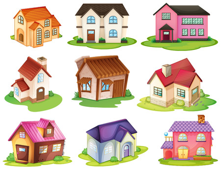 Illustratie van de verschillende huizen op een witte achtergrond