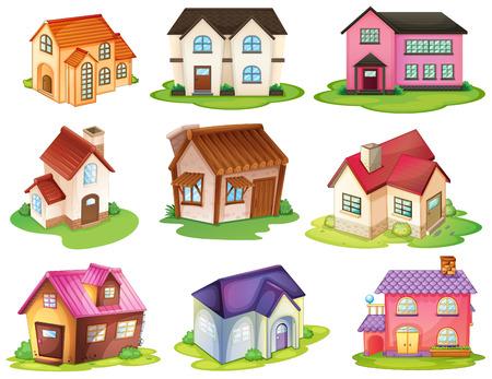 Illustration der verschiedenen Häuser auf einem weißen Hintergrund