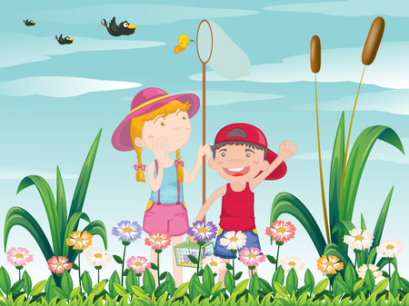 Illustration of the two kids catching the butterflies Vector