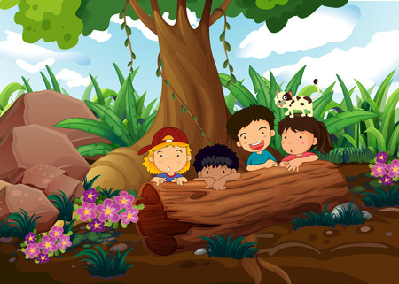 Illustration of the kids playing at the woods Vector