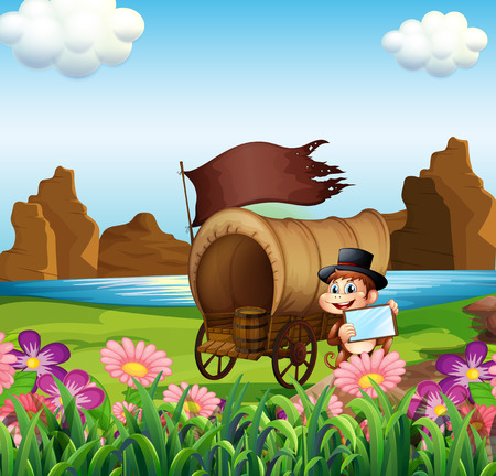 강둑: Illustration of a monkey beside the wagon at the riverbank 일러스트