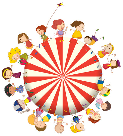 Illustration of the kids forming a big circle on a white background Vector