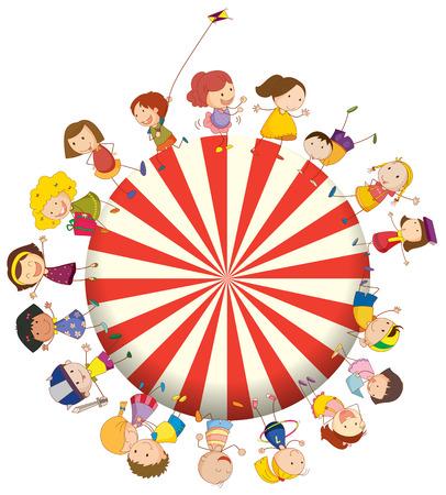 playmates: Ilustración de los niños formando un gran círculo sobre un fondo blanco