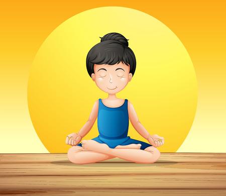 Ilustración de una niña que concentra mientras que hace yoga