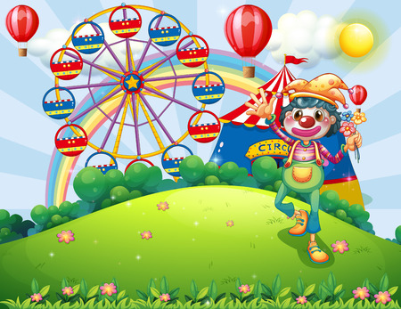 Illustration of a clown at the hilltop with a carnival Vector