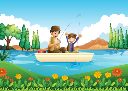 riverside tree: Illustration of a father and son fishing